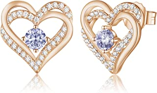 Forever Love Heart Women Earrings 925 Sterling Silver...