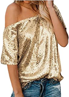 desolateness Women's Sexy Sequin Short Sleeve One Shoulder T-Shirt Top Blouse