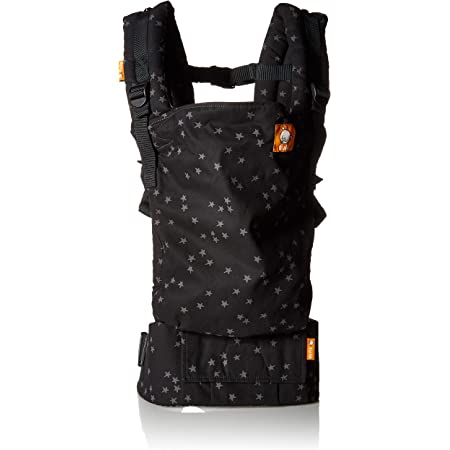 Baby Tula Discover Free-to-Grow Baby Carrier, Adjustable Newborn to Toddler Carrier, Ergonomic and Multiple Positions for 7 - 45 pounds, Black with Gray Stars