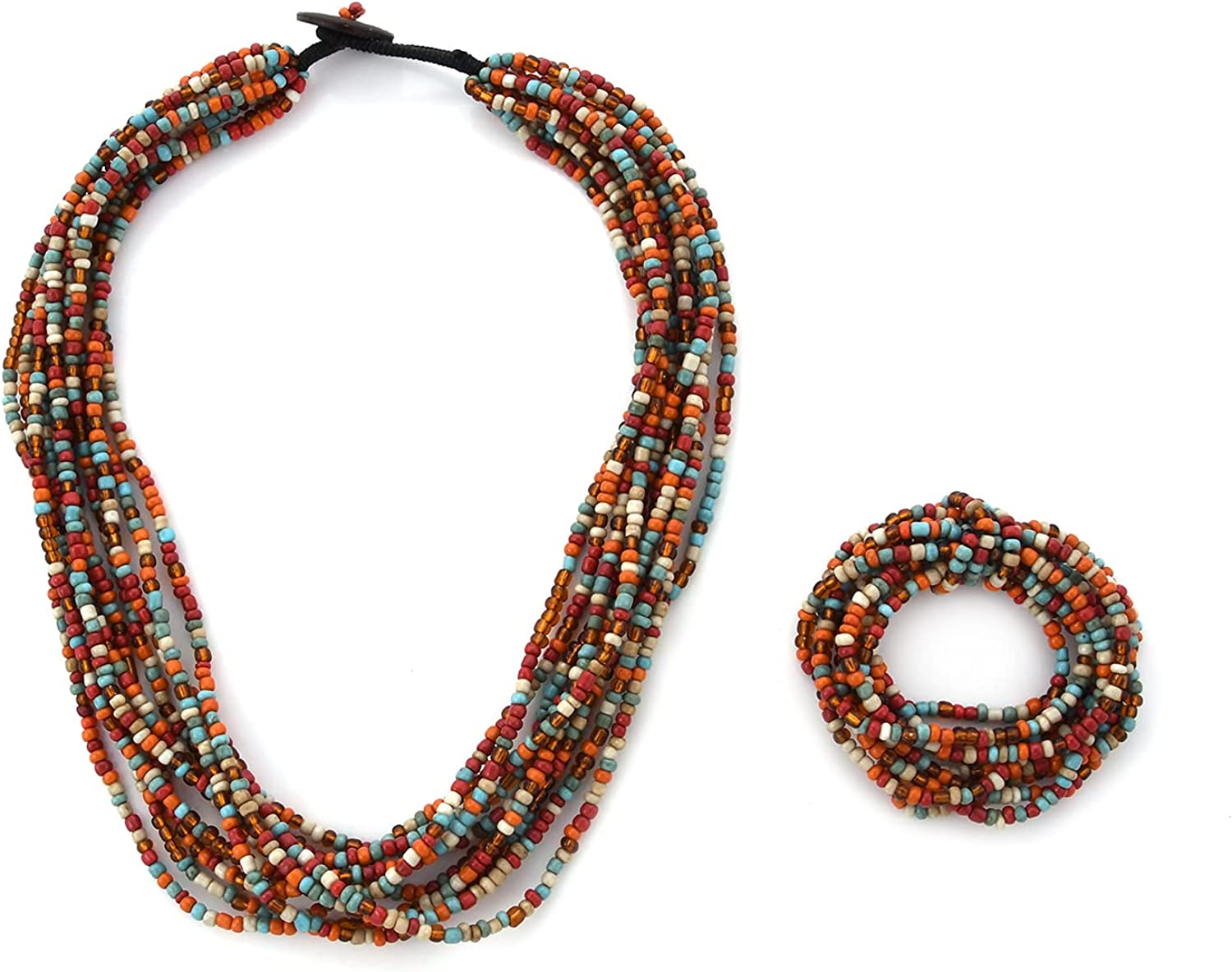 Bracelet Seed Bead Multi Strand Necklace 36 Inch Set Gifts Jewelry