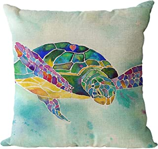 Blue Accent Pillow Blue Sea Turtles by coopercraft Modern  Water Sea Life Turtles Tortoise Rectangle Lumbar Throw Pillow by Spoonflower