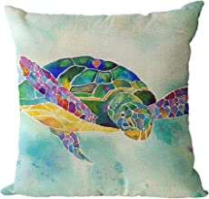 oFloral Watercolor Sea Turtle Pillow Case Ocean Theme Marine Life Throw Pillow Cover Cotton Linen Pillowcase Square Cushion Cover Home Sofa Bedroom Decorative 18