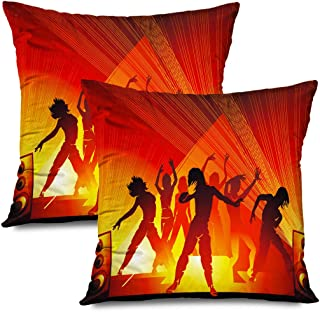 Ahawoso Set of 2 Throw Pillow Covers Square 18x18 Dancing Hiphop People Elegant Contour Template Girls Group Design Or Beauty Fashion Figures Player Zippered Pillowcases Home Decor Cushion Cases
