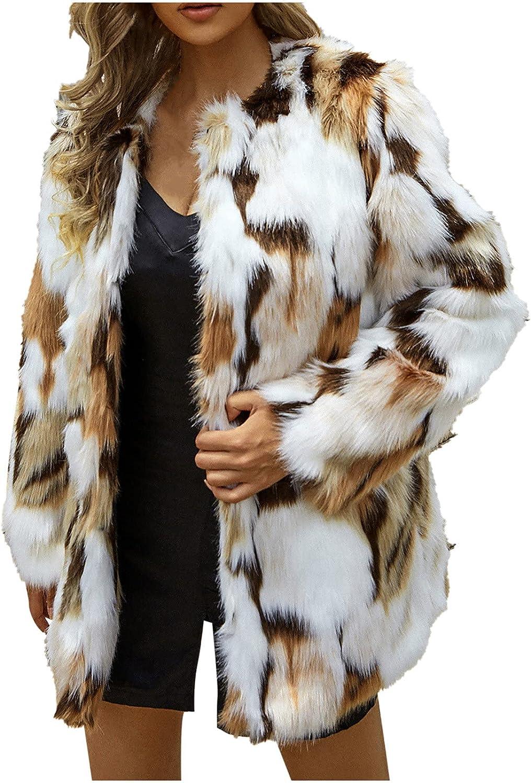 Womens Fuzzy Max 83% OFF Fleece Jacket Long Sleeve Warm Coat Fluffy Faux Fur Spring new work
