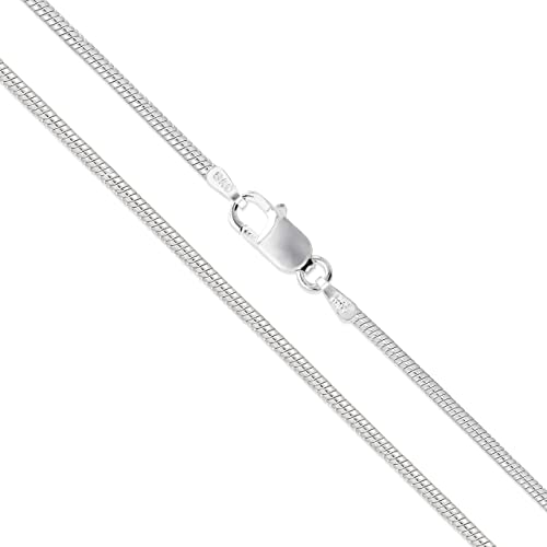 High Polished Sterling Silver Thin Round Snake 040 Chain 1.6mm