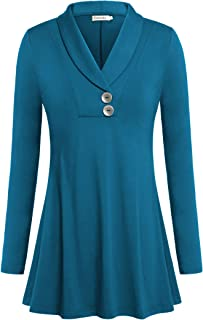 Ouncuty Women Fall Long Sleeve Tops Shawl Neck Button Down Dressy Blouses Shirts