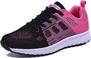 Hoylson Zapatillas de Deportivos para Mujer Running Zapatos Asfalto Ligeras Calzado Aire Libre Sneakers Blanco Negro