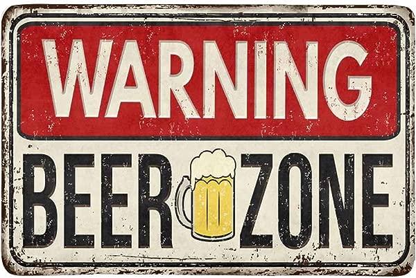 InterestPrint Funny Rusty Metal Sign Warning Beer Zone Doormat Non Slip Indoor And Outdoor Door Mat Rug Home Decor Entrance Rug Floor Mats Rubber Backing 23 6 L X 15 7 W