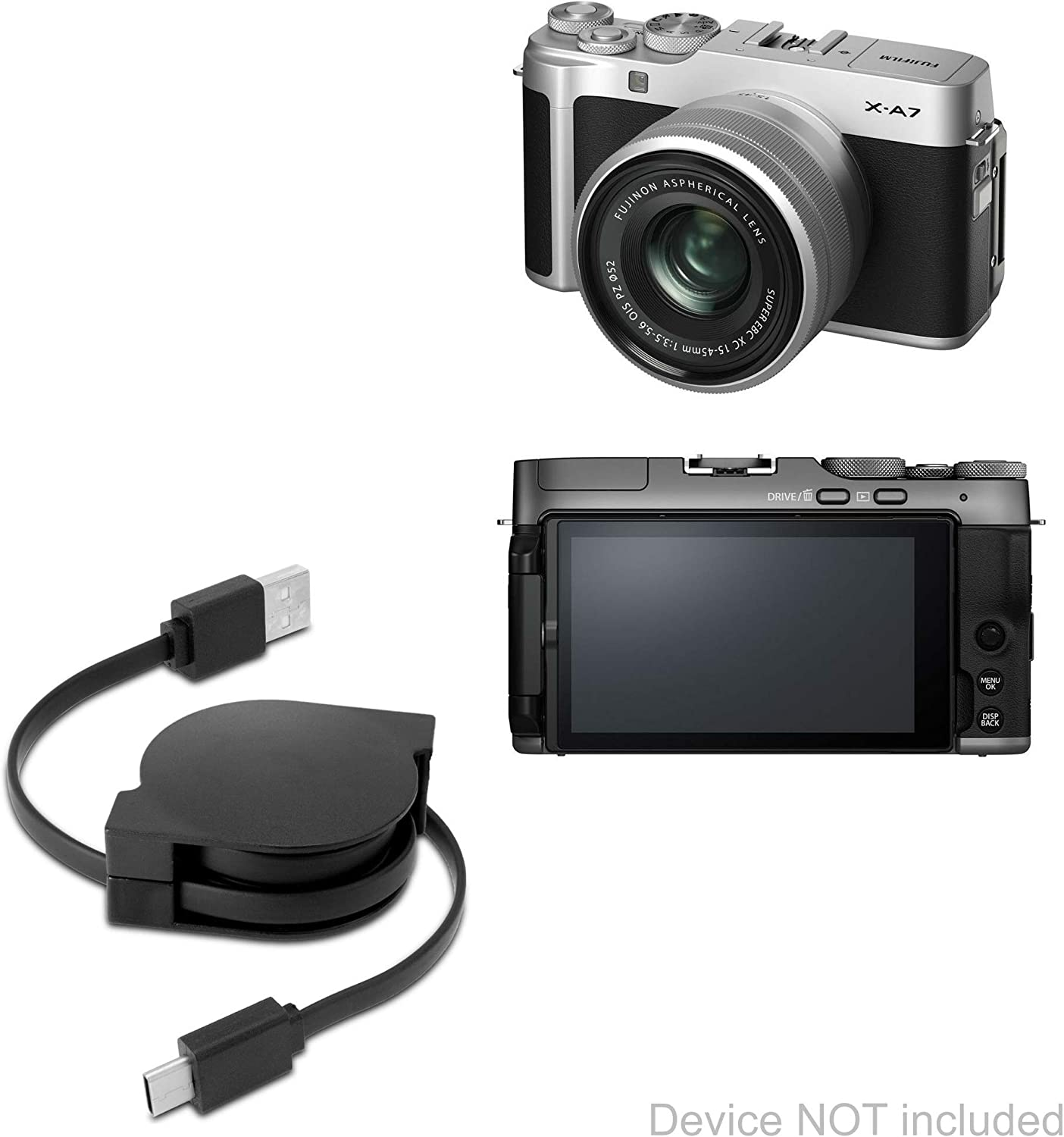 Jet Black AllCharge 3-in-1 Cable Fujifilm X-A7 Cable BoxWave for Fujifilm X-A7