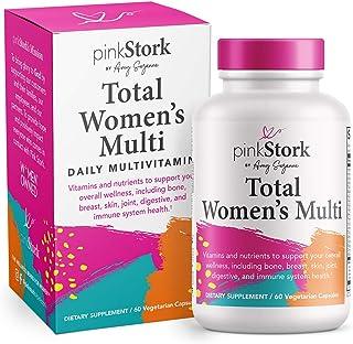 Pink Stork Total Women's Multi: Women's Multivitamin with Folate, Zinc, Vitamin A, Vitamin C, Vitamin D, Vitamin E, + Biotin, Essential Nutrients for Women, Women-Owned, 60 Capsules