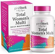 Pink Stork Total Women's Multi: Women's Multivitamin with Folate + Zinc + Vitamin A + Vitamin C + Vitamin D + Vitamin E + Biotin, Essential Nutrients for Women, Women-Owned, 60 Capsules