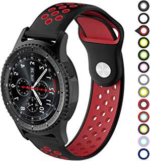 Gear S3 Bands,Meifox Soft Silicone Replacement Band for Samsung Gear S3 Frontier/Classic Smart Watch,Also for Huawei Watch 2 Classic Smartwatch(22mm) (Black-red, L)