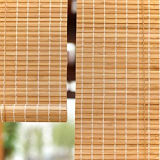 LXLA - Privacy Wooden Roller Blinds for Bathroom Bedroom Window - Waterproof Bamboo Shades with Pull Rope, 90% Blackout, Easy to Install (Size : W100cm X H200cm)