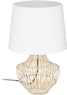 Relaxdays 10024796 Table Socle Rond Bambou Corbeille Lampe de Chevet Abat-Jour Tissu H x D: 50x30 cm, Blanc/Nature, Naturel