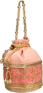 Indian Handicraft Potli With Golden Lase Indian Ethnic Drawstring Bag Marriage Return Gift Women Handbag (Pink)