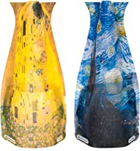 MODGY Collapsible & Expandable Plastic Vase Multi-Pack - NOT Glass (Starry Night & The Kiss 2-Pack), Vincent Van Gogh, Gustav Klimt – Great for Parties, Pools, Patios, Weddings & Any Celebration