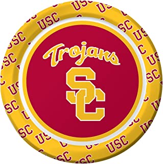 Creative Converting 8 Count Sturdy Florida State University Platos de papel de estilo (Almuerzo Tamaño), 17,8 cm Garnet/Gold, University of Southern California, USC Trojans, 1