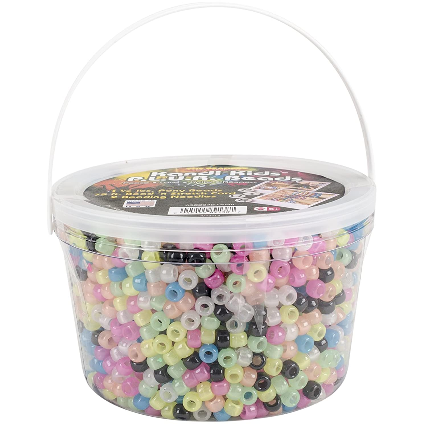 The Beadery Ultra Kandi Rave Bead Glow Bucket, Dark Multicolor