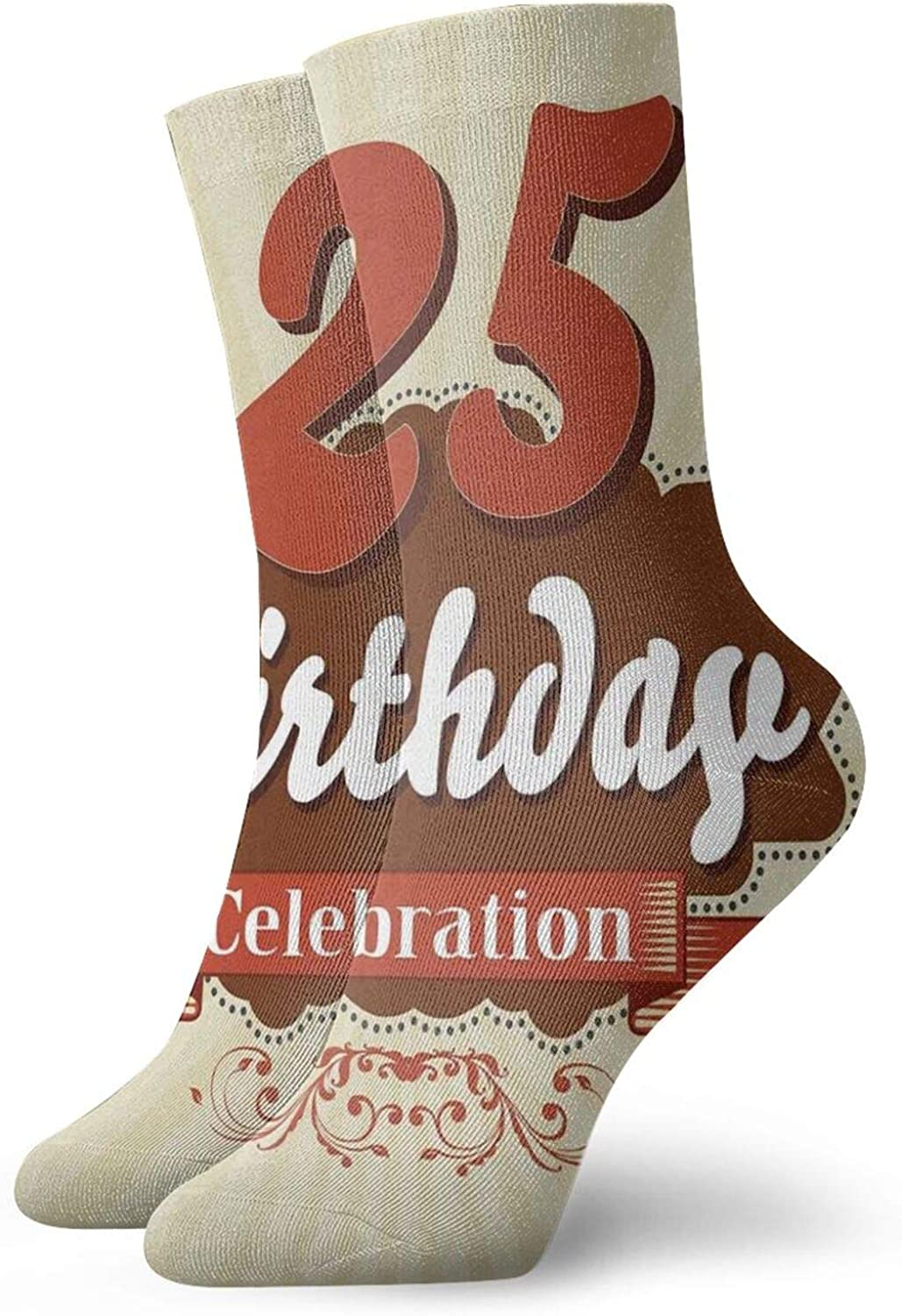 Compression High Socks-Aged Design Typography 25th Retro Style Fashionable Retro Print Best for Running,Athletic,Hiking,Travel,Flight