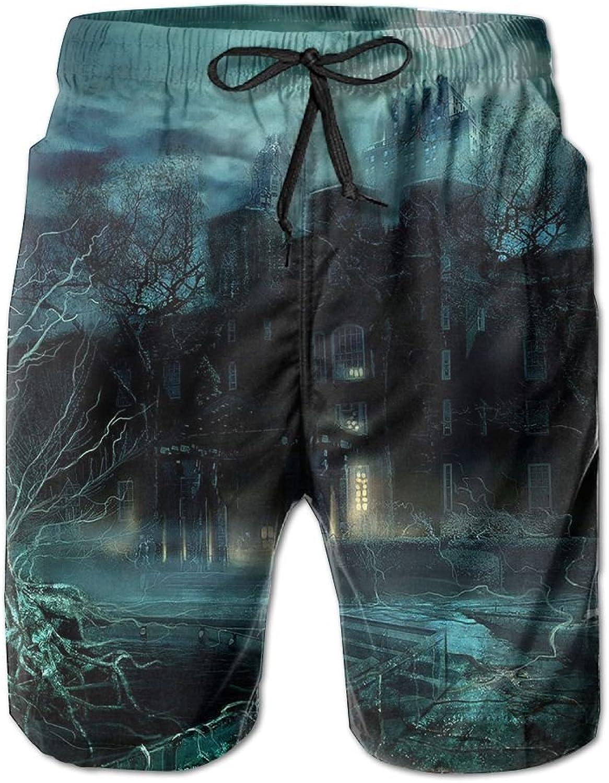 Men's Shorts NightBeach Board Short Elastic Waist Trunk Quick Dry Swim With Pockets