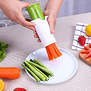 Cucumber Carrot Slicer Tool by Tuscom, 6 Stainless Steel Blades for Vegetable Strawberry Slicer Splitter,104107mm Kitchen Cutting Tool (White)