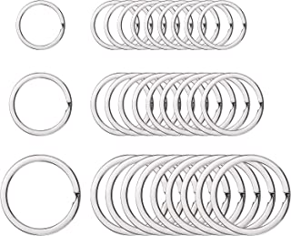 Round Flat Key Chain Rings Metal Split Ring DIY for Home Car Keys Organization, 30 Pieces (Silver, 3/4 Inch, 1 Inch and 1....