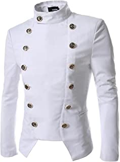 Men's Vintage Double Breasted Trench Coat Stand Collar Suit Jacket