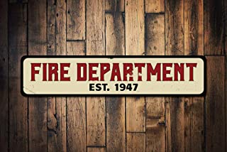Fire Department Sign, Personalized Established Date Sign, Firehouse Fire Station Firefighter Man Cave Decor,Metal Sign, 4