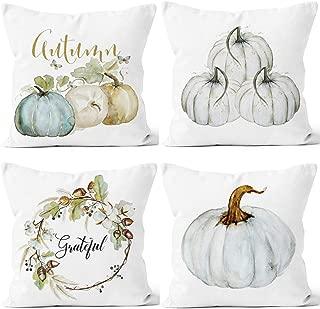 LafyKoly Happy Halloween Pumpkin Decoration Cotton Blend Cushion Cover Set of 4 Fall Decor Thanksgiving Throw Pillow Covers 18x18 inch (Pumpkin)