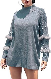 D Jill Women's Casual Turtleneck Oversized Knit Long Pullover Sweater Mini Dress Tops