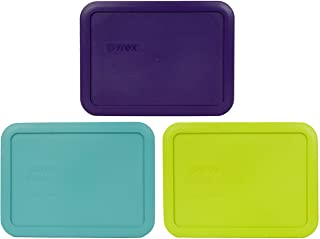 Pyrex 7210-PC 3 Cup (1) Purple (1) Turquoise (1) Green Edamame Rectangle Plastic Lids
