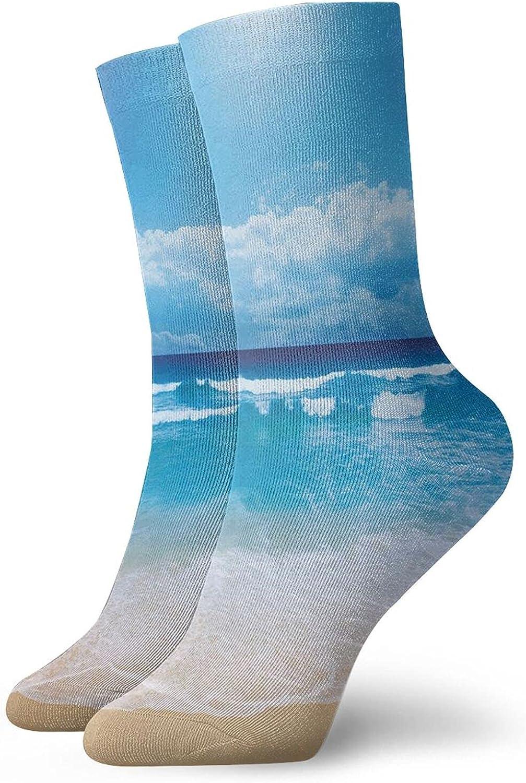 Seashells And Glass Of Orange Juice With Sea Summer Beach Digital Prints Men's and Women's Sports Crew Socks