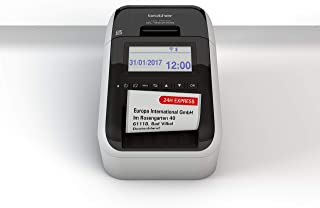 Brother QL-820NWB Label Maker, Address Labeller, Wireless, PC Connected, Network and Bluetooth, Desktop, Red and Black Pri...
