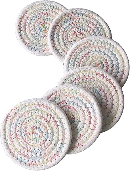 6x Braided Coaster For Drink Dining Table Absorbent Woven Coasters Set Living Room Office Colorful Round