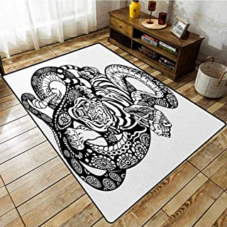 Pet Rug,Tiger,Tattoo Style Scene of Two Animals Fighting Long Snake with Sublime Large Cat Battle,Rustic Home Decor,4'11
