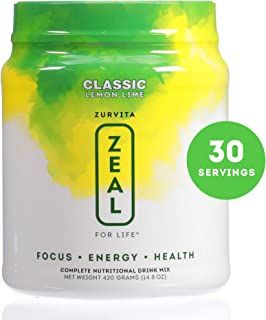 Zurvita Zeal for Life 30 Day Wellness Canister, Lemon Lime, 420 Grams | Gluten Free, Nutritional Drink with Natural Flavor and Handpicked Ingredients