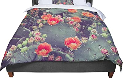 Kess InHouse Just L No Yard Coral King Cotton Duvet Cover 104 x 88 104 x 88