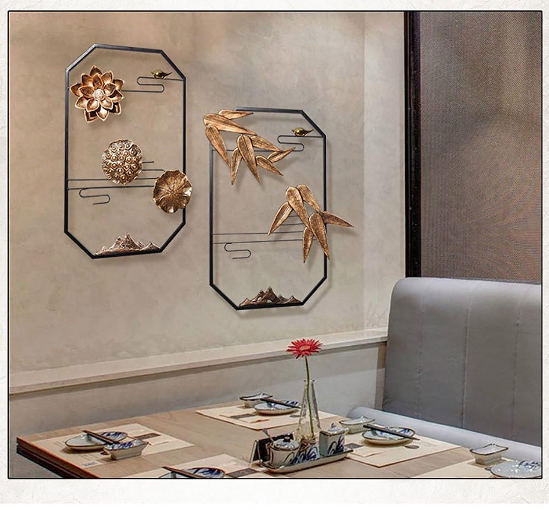 行ごみ衝突する形状棚、アイアンアートウォールデコレーション中国スタイルの壁の装飾のペンダント創造性の居間の壁の装飾エントランスの装飾品の家の壁面のサスペンションソフトローディングアクセサリー (Design : Two Suits)