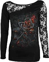 Spiral Womens - Burnt Rose - Lace One Shoulder Top Black