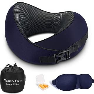 ネックピロー Keenstone 低反発 飛行機 携帯枕 U型まくら 首枕 2019年最新 仮眠枕通気 吸汗 調節可能 洗えるカバー 頚椎肩こり改善 旅行用枕 耳栓·3Dアイマスク·収納ポーチ付き 【一年保証】 (青)