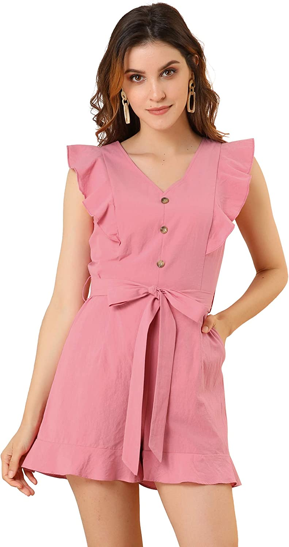 In a popularity Dealing full price reduction Allegra K Women's Tie Waist V Neck Button Decor Ruffle Flutter S