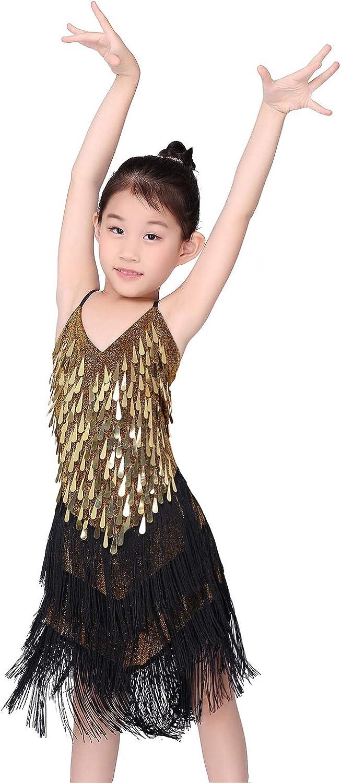 Kids Girls Ballet Dance Gymnastics Sequined Leotards Solo Performance Dancewear