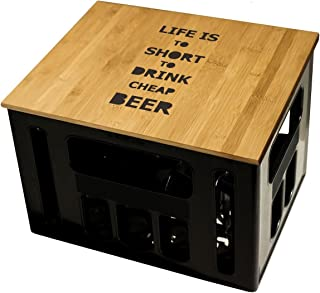 Geschenkidee Geburtstagsgeschenk Bierkastensitz Bierkistensitz Sitzauflage Bierkiste Bierkasten Sitz Hocker Bambus Handmade Hipster mit Motiv To short