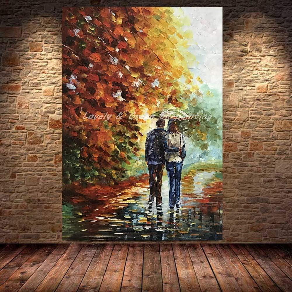 YA859 Grande Tela Paesaggio Astratto Dipinto ad olio streetscape 100/% dipinto a mano