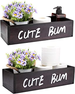 AKKO Cute Bum Bathroom Decor Box, Farmhouse Rustic Toilet Paper Holder,Farmhouse Wooden Bathroom Box, Funny Home Decor Box for Bathroom Kitchen Table Counter,Brown