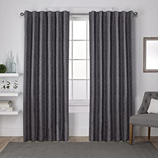 Exclusive Home Curtains Zeus Solid Textured Jacquard Blackout Window Curtain Panel Pair with Back Tab Top, 52x96, Black Pearl, 2 Piece