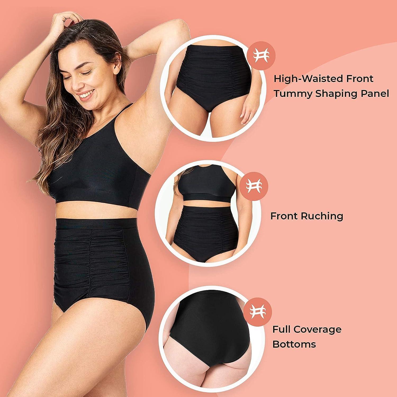 Shapermint Women Ruched High Waisted Bikini Bottom Swimsuit, Tummy Control Full Coverage Swimwear, Small to Plus Size