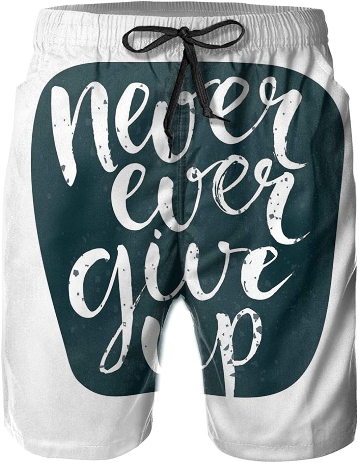 Never Ever Give Up Quote with Grunge Rough Typography Calligraphy Art Mens Swim Trucks Shorts with Mesh Lining,M