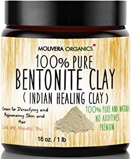 Bentonite Clay - Molivera Organics 470ml Premium 100% Pure Indian Healing Clay Powder - Sodium Bentonite Clay - Best for Detox Mask and Rejuvenating Cleansing Baths - Amazing for Hair and Skin, Wyoming Sodium Bentonite more cleansing than Calcium Bento ..