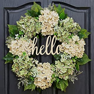QUNWREATH Handmade Floral 18 inch Green Hydrangea Series Wreath,Gifts Package,Spring Wreath,Wreath for Front Door,Rustic Wreath,Farmhouse Wreath,Grapevine Wreath,Light up Wreath,Everyday Wreath,QUNW60
